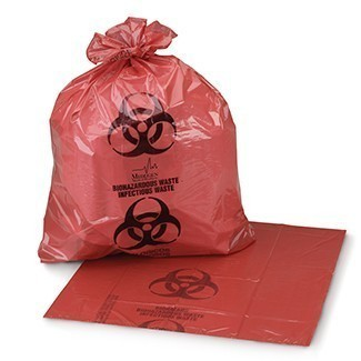 Biohazardous Waste Bag - Meet A.S.T.M. Dart Test Requirements, HPDE Film, Flat Pack