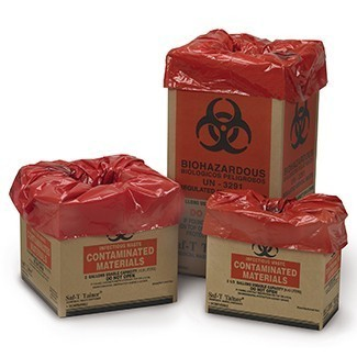 SAF-T-TAINER; Biomedical Waste Containers - Corrugated Box w/ Liner, Flat Pack